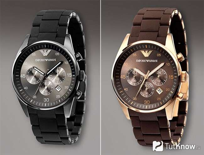Всі наручний годинник Армані мають відмітний знак на корпусі про свою  приналежність до бренду і до певної колекції. Зокрема b87148e148357