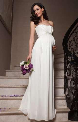Відмінним рішенням стануть довгі сукні для вагітних з класичним А-силуетом.  Їх характерна особливість – звужений верх da24e8862830c