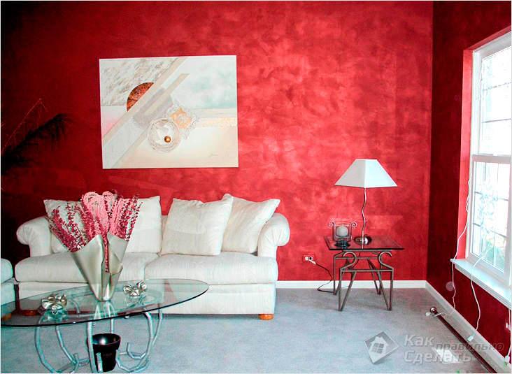 Отделка стен декоративной краской фото