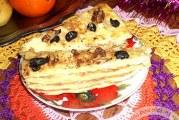 Рецепт економного закусочного торта Наполеон