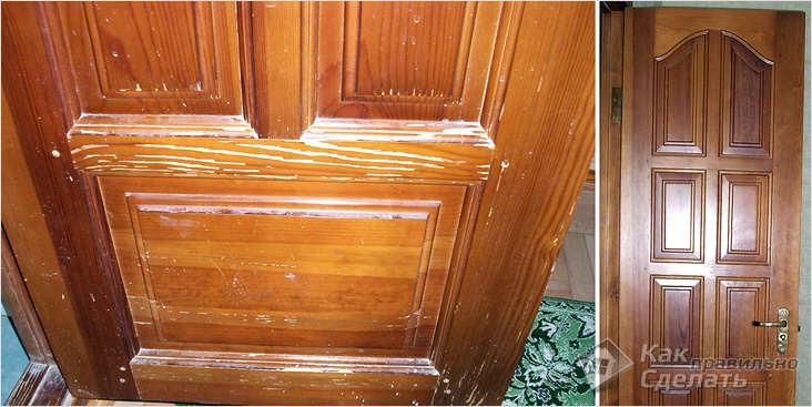 Как обновить деревянные двери покрытые лаком своими руками