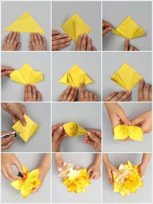 Как сделать простые цветы из бумаги 153