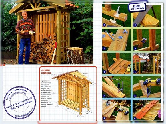 Строительство дровника на даче своими руками 13