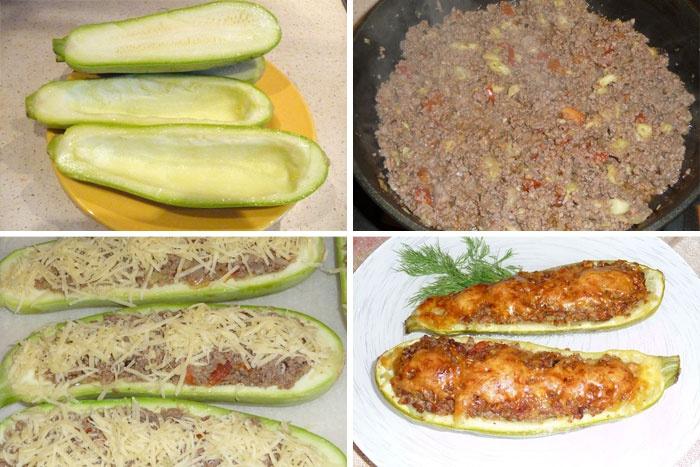 Кабачки с фаршем на сковороде в кляре пошаговый рецепт