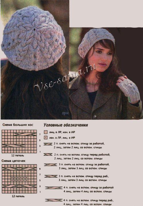Вязание берета с косами спицами с описанием 83
