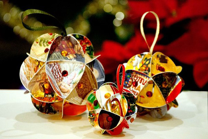 Новогодние игрушки своими руками из бумаги шары