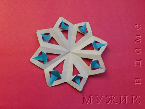 Как сделать снежинку из цветное бумаги
