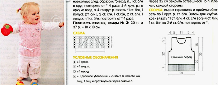 Вязание жилетки для девочки 3 лет с описанием и схемами спицами 98