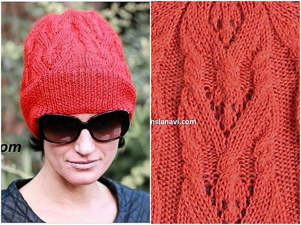 Як зв язати модну шапку-біні спицями. Схема 607f65737ecfc