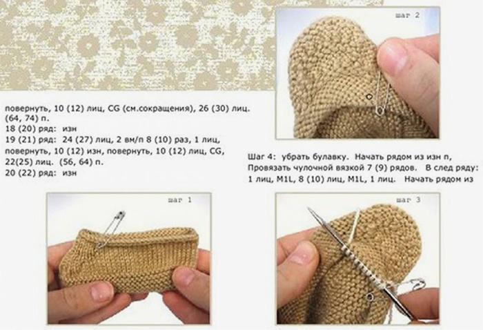 Вязание пинеток и носочков спицами для детей от 0 до 1 года с описанием