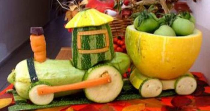 Поделка в сад из овощей или фруктов