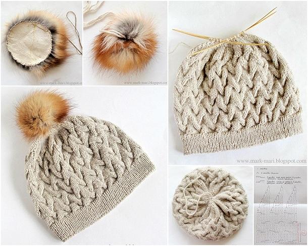 Як зв язати зимову шапку спицями з аранами і хутряним помпоном. Схема 3ac76aaa5027d