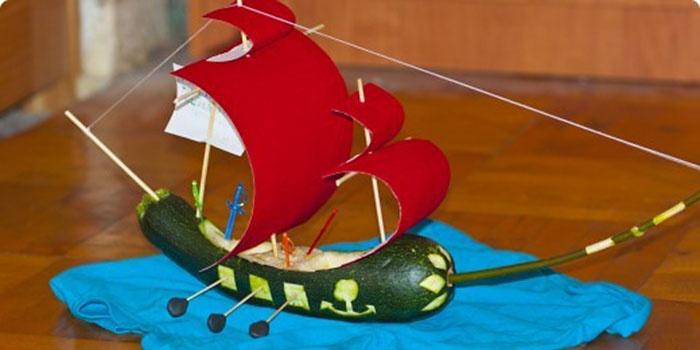 Как сделать поделку корабль из кабачка