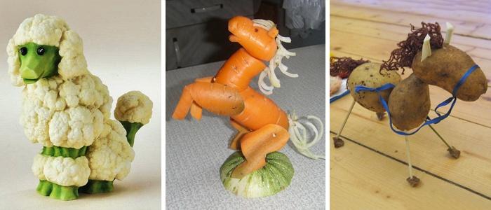 Поделки домашних животных из овощей