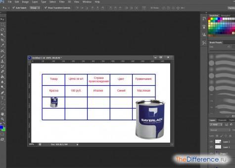 Как сделать таблицу фотошопе