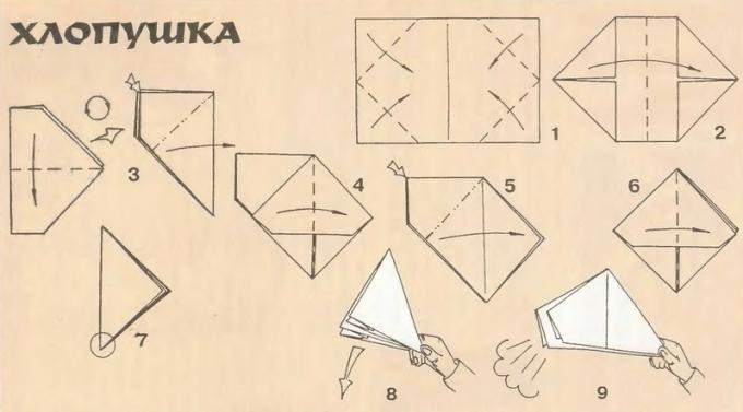 Как сделать оригами из бумаги хлопушку