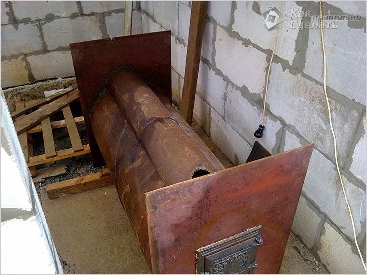 Печь для гаража из трубы 500 мм своими руками 82