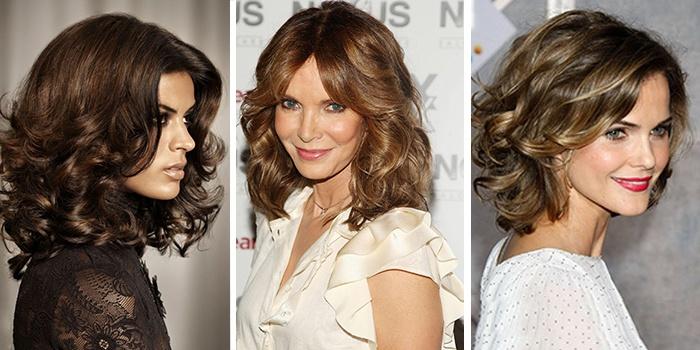 прически на волнистые волосы средней длины с челкой фото