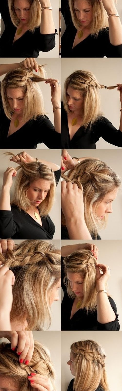 Прически косы на короткий волос в домашних условиях фото