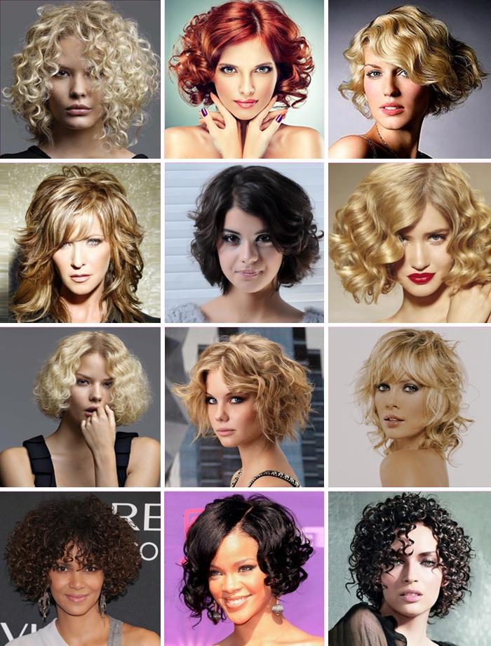 Прически для волос средней длины на вьющиеся