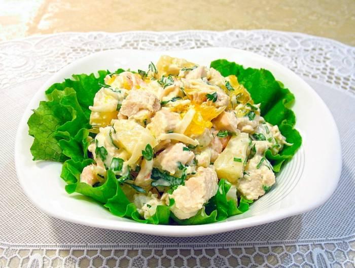Рецепты салатов с ананасов с