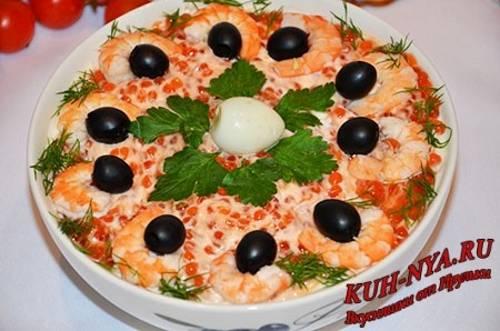 Салаты с кальмарами и креветками рецепты простые и вкусные