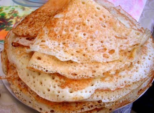 Тонкие блины на кефире с дырочками рецепт пошагово