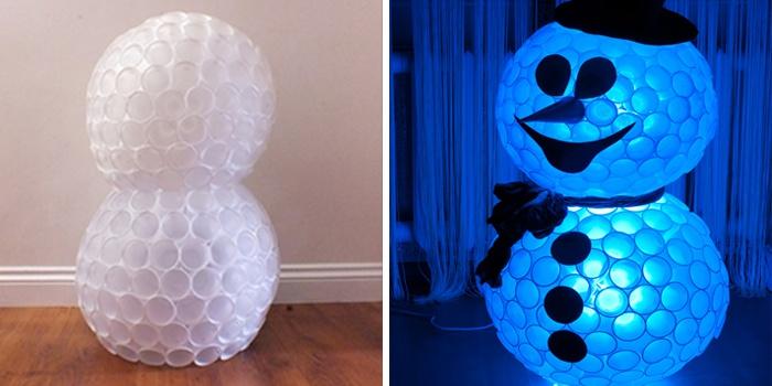 Как сделать снеговика из одноразовых стаканчиков фото