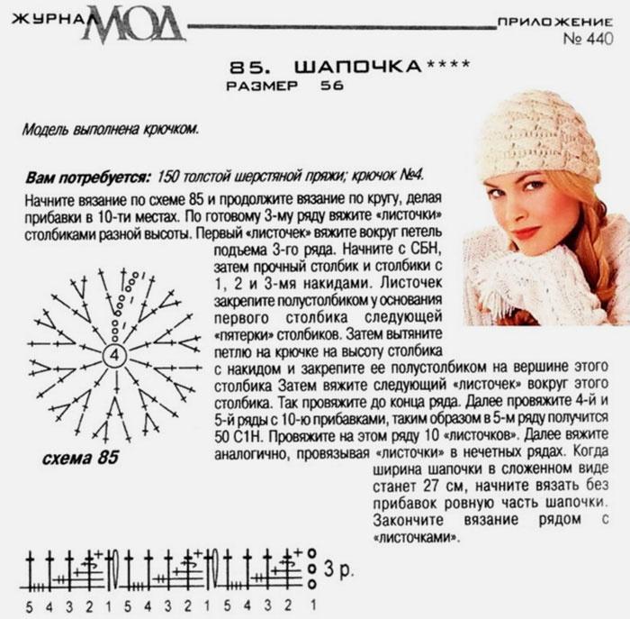 Вязание крючком шапочки схемы и