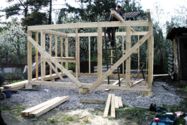 Садовый домик из каркаса своими руками 99