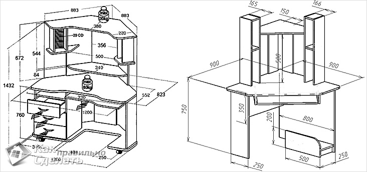 Схема чертеж углового компьютерного стола