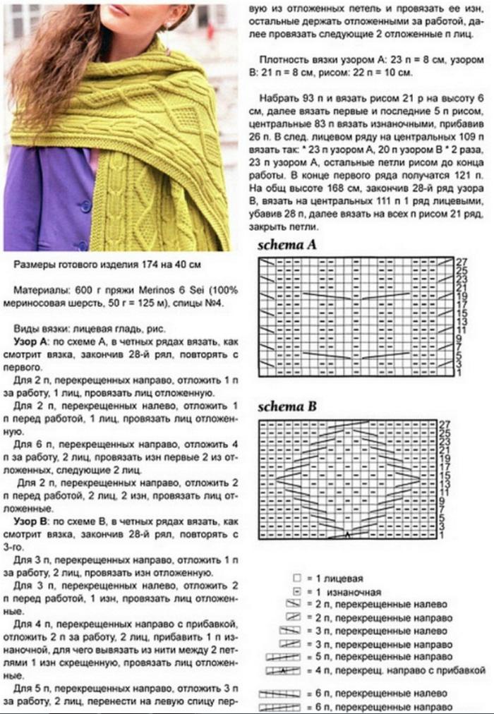 Вязание спицами шарфов схемы с
