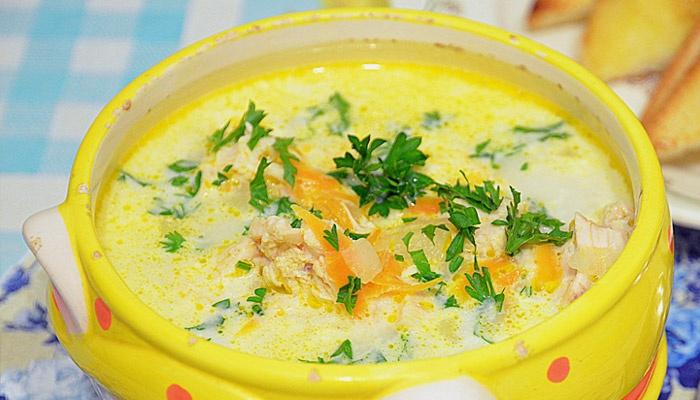 Рецепт супа с плавленным сыром и грибами