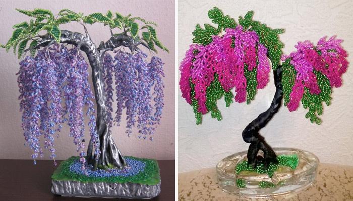 Деревья из бисера для начинающих своими руками 41