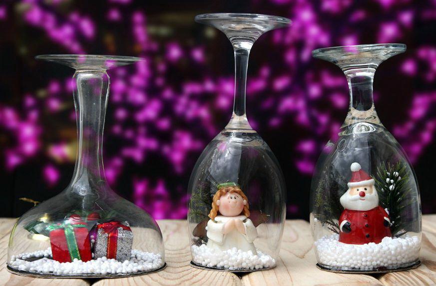 Подсвечники из бокалов своими руками к новому году
